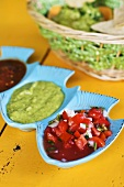 Three Southwestern Condiments in Divided Dish; Pico de Gallo and Guacamole