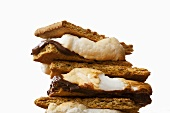 Stacked S'mores on White Background