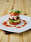 Cobb Salad Tower on a White Plate