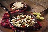 Queso Flameado (Mexican Style Cheese Fondue Skillet); Tortillas