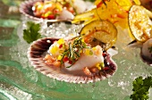 Scallop Ceviche on Scallop Shell Half