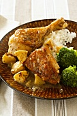 Apple Glazed Chicken Served with Broccoli and Rice