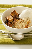 Bread pudding with vanilla ice cream
