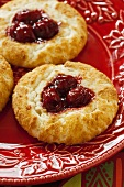 Cherry Cheesecake Cookies on a Red Plate