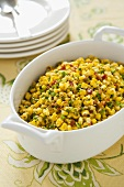 Sauteed Corn Side Dish with Bacon, Bell Pepper and Scallions