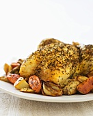 Herb Roasted Chicken on Platter with Roasted Vegetables