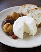 Soft Ripened Goat Cheese with Dried Fruit and Bread