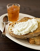 Goat Cheese Spread on Toast with Orange Marmalade
