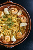 Penne with Shrimp and Scallops in Cachsca Sauce (Brazilian Fermented Sugar Cane Liquor)