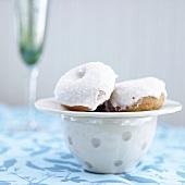 Mini Vanilla Glazed Donuts; On Saucer on Mug
