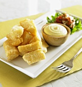 Fried Yucca with Dip and Salsa