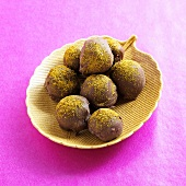 Chocolate Curry Truffles on a Leaf Dish
