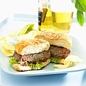 A grilled burger with onions