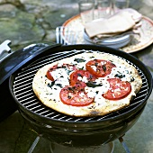 Grilled Pizza Margherita on the Grill