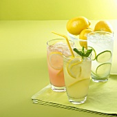 Glass of Lemonade, Pink Lemonade and Limeade