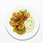 Stir Fried Shrimp and Vegetables with White Rice