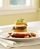 Stacked Heirloom Tomato Salad with Mozzarella Cheese and Pesto