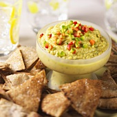 Bowl of Hummus with Pita Chips