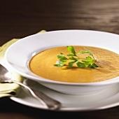 Kürbiscreme-Apfel-Suppe mit frischer Petersilie