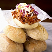 Pulled Barbecue Chicken Subs with Cole Slaw; On Stacked Rolls