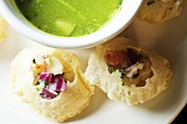 Pani Poori; Stuffed Indian Bread and Dipping Sauce