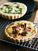 Sun Dried Tomato Quiche on Cooling Rack; Asparagus Quiche