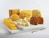 Various Processed Cheeses on Boards