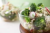 Barley and Broccoli Salad in a Glass Bowl