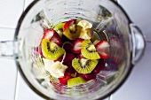 Kiwi,Banana and Strawberries in a Blender for Fruit Smoothie