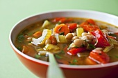 Bowl of Vegetable Soup with White Beans