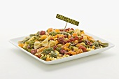 Colorful Mixed Organic Pasta with Sign