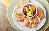 Smoked Salmon, Mango Salsa and Bread Slices