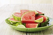 Plate of Watermelon Wedges with Lime