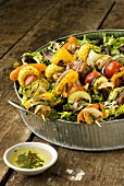 Chicken and Vegetable Kabobs on a Bed of Spring Greens; Marinade