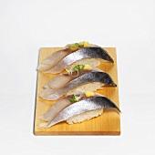 Spanish Mackerel Sushi on a Board