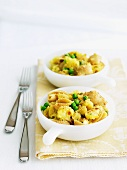Baked Pasta, Cauliflower and Peas in Individual Dishes