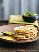Stack of Polenta Pancakes; Cornmeal