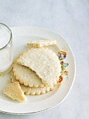 Butter Cookies on a Plate with a Glass of Milk
