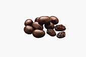 Dark Chocolate Covered Raisins; Raisins; White Background
