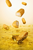 Twinkies Falling into Oil for Deep Frying