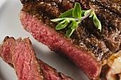 Sliced Grilled Rib Eye Steak; Rare