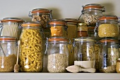 Dry Goods Stored on a Shelf in Glass Jars