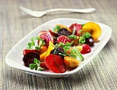 Mixed Beet Salad on a White Dish