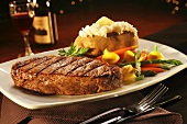 Steak with Veggies and Baked Potato