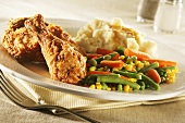 Fried Chicken with Mixed Veggies and Mashed Potatoes