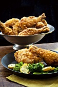 Plate of Fried Chicken with Veggies; Bowl of Fried Chicken