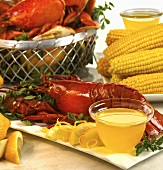 Boiled Lobster with Clarified Butter; Corn on the Cob