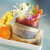 Layered Sushi Roll with Sprouts, Carrots and Cabbage