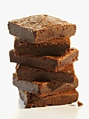Chocolate Brownies; Stacked on White Background