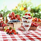 Layered Yogurt and Berry Parfait; Fresh Assorted Berries
